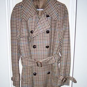 Vintage 1950's DAKS Dog Tooth Pattern Trench Coat